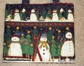 Tote Bag--Snowmen--shoe bag, gift bag, shopping tote--purse--hostess gift