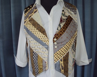 Art vest-waistcoat- one of a kind- made from  vintage ties - small size--mothers day--handmade OOAK  Birthday gift