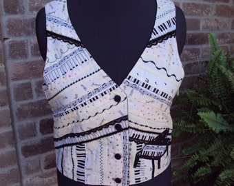 CHOPIN VEST--strip quilted--appliqued piano--machine embroidery--lace trim--Waistcoat Art Handmade OOAK