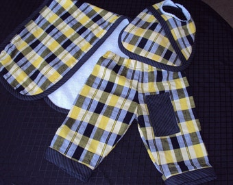 Three piece set knickers pantaloons dribble bib burp pad baby boy or girl  yellow and black plaid pants, New  born
