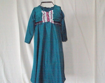 Princess Lateal--Renaissance, Edwardian, -- teal Dress with Teal Vestlett and headpiece--size child 5 and child size 3