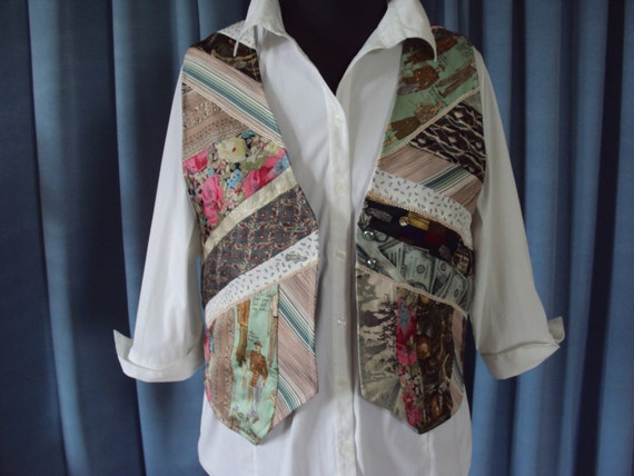 One of a Kind Art Vest-waistcoat -made from Vintage mens silk Ties- Shade of green