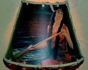 Indian Maiden in a Canoe Night Light