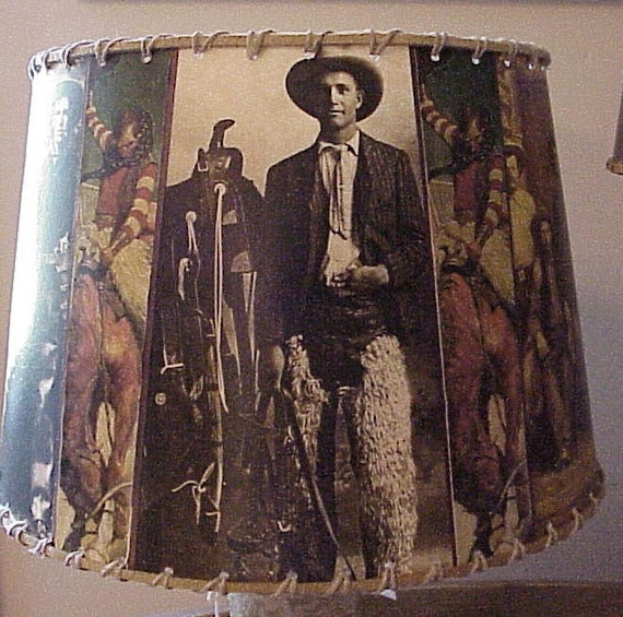Cowboy Lamp Shade Vintage Iamges Western Decor By Shadyplace