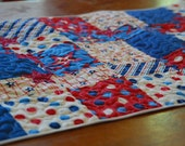 Patriotic Quilted Table Runner and 6 matching coasters - OOAK - Ready 2 Ship