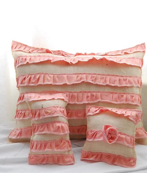 Ruffled Burlap Pillow Trio