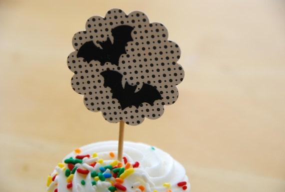 Set of 7 Halloween Bat Cupcake Topper / Party Picks