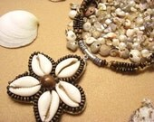 Ocean Flower Cowry Shell and Wooden Beaded Necklace