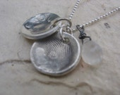 Shabby Chic Designs HAND STAMPED PMC Fingerprint Necklace Single Pendant