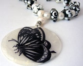 Butterfly Black and White Necklace