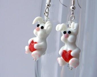 White Rabbit Earrings Lampwork Glass Earrings