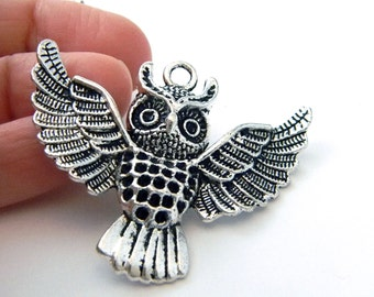 Large Owl Charms Set of 2 Silver Color 43x50mm