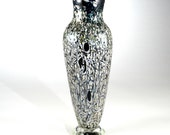 Hand Blown Crackle Glass Vase -  One of a kind