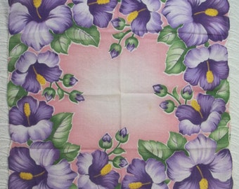 "Floral Hankerchief Hankie....Scalloped Purple HIBISCUS on Pink Background....12"" sq...1950s"
