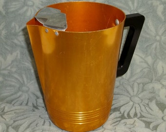 Vintage Regal Ware Regal Supreme Orange Gold Aluminum Pitcher with Ice Lip...50s...Very Clean