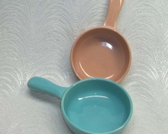 Sale...Pr Vintage Franciscan EL PATIO California Pottery Long Handled  Casseroles...40s 50s...Turquoise & Coral or Blush