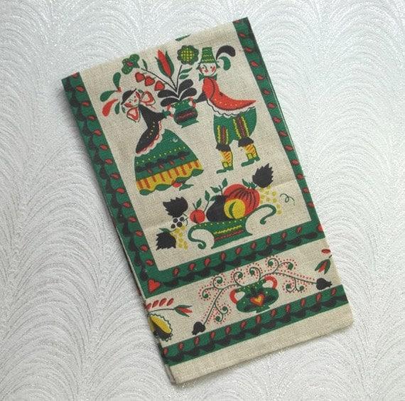 Vintage Linen Tea, Kitchen Towel...Penn Dutch Print...Folk Art...Never Used....Made in Poland...Sticker
