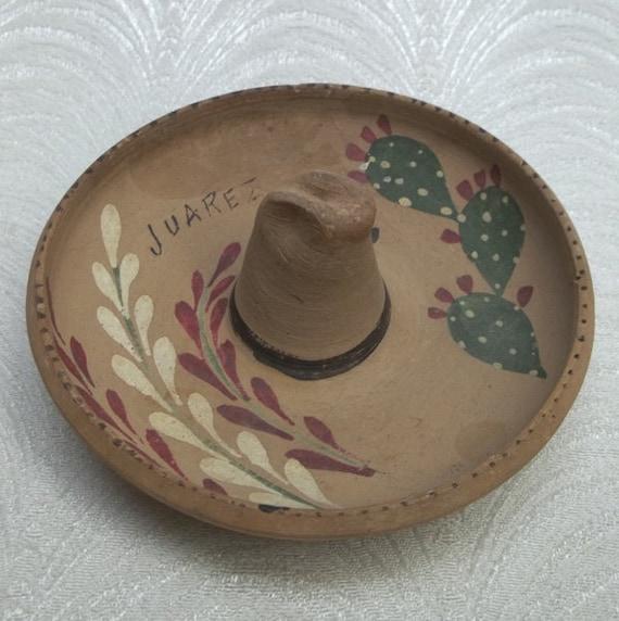 Vintage WWII Era Souvenir SOMBRERO Ashtray...Juarez Mexico...Handmade Clay...dated Oct 1946
