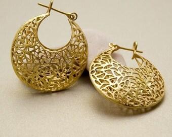 Gold Earrings, Large Earrings Gold, Filigree Earrings, Gold Lace Earrings, Cut Out Earrings, Victorian Earrings, Bohemian Earrings Hoops