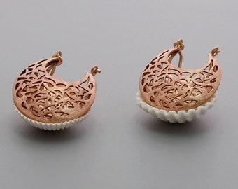 Rose Gold Filigree Earrings, Womens Earrings, Rose Gold Lace Earrings, Gypsy Earrings Large, Statement Earrings, Bridal Victorian Earrings