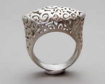 Silver Filigree Ring, Victorian Ring Filigree, Statement Ring, Silver Lace Ring, Sterling Silver Ring, Boho Silver Ring, Bridal Ring Silver