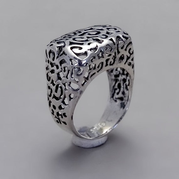 Thin Lace Ring - Handmade Sterling Silver Filigree Jewelry