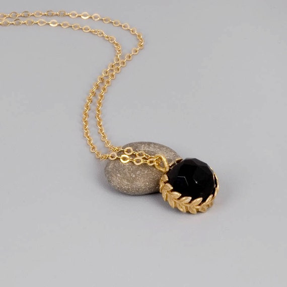 Black Onyx Gold Necklace  - OOAK - Onyx and Gold Coated Handmade Jewelry - Black Princess