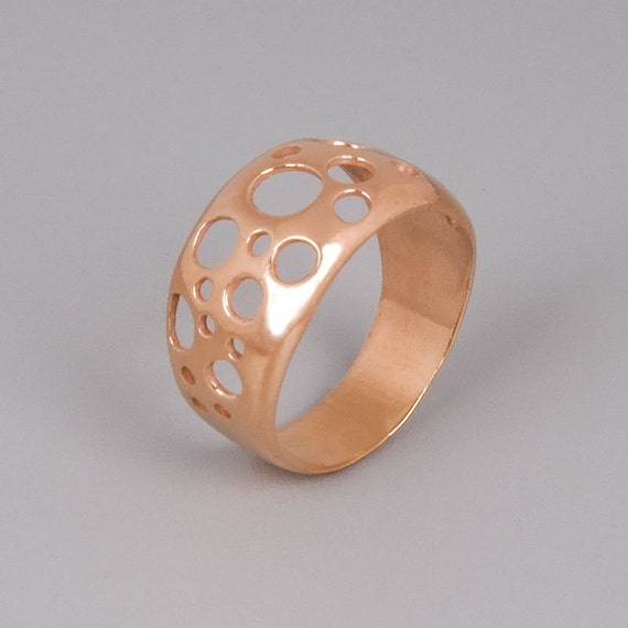 Modern Rose Gold Ring, Minimal Ring, Geometric Ring, Circles Ring, Contemporary Ring, Designer Ring, Unique Gold Ring, Bubble Ring Cut Out