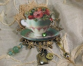 Tea Jewelry, Tea Cup Brooch, Turquoise with Pink Roses