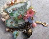 Turquoise, Tea Time Jewelry,   Garden Party, Teacup  Brooch