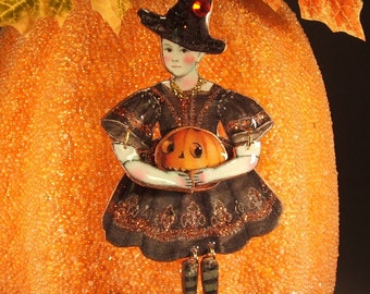 Halloween, Halloween Witch Brooch, Halloween Jewelry