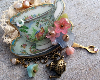 Brooch - Turquoise Tea Cup Brooch - Tea Party Jewelry - Teacup  Brooch - Pin - Tea Cup Pin