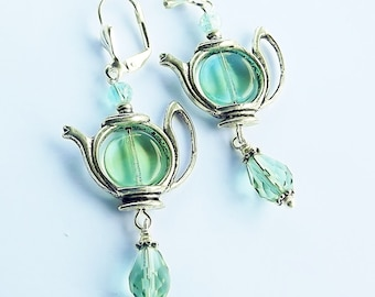 Seaside Green and Silver Teapot Earrings