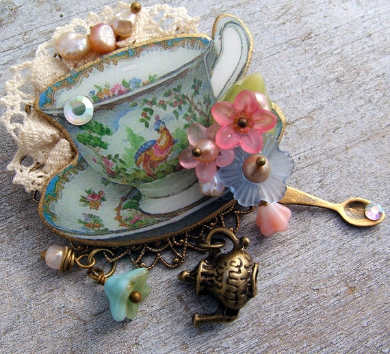Brooch, Pin, Turquoise Tea Cup Brooch, Tea Time Jewelry, Teacup  Brooch