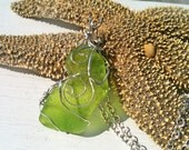 Twist of Lime - Sea Glass Sterling Silver Necklace