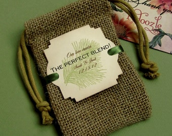 Burlap favor bags - Personalized - The Perfect Blend - Coffee - Pine