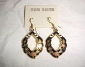 Lovely Cloisonne Enameled  Earrings Mint on Card Flack Floral Design