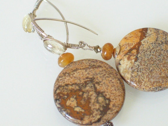 Earthy Gemstone Earrings - Picture Jasper - Scapolite - Neutral Earrings - Rustic
