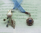 Upcycle Earrings Pretty Blue and Silver  Bookmark OOAK