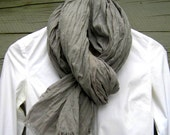 scarf crinkle cotton long fringe gray for women - betsybdesign
