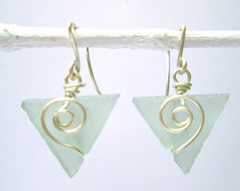 aqua baby triangle seaglass earrings with spirals