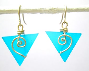 turquoise seaglass baby triangle earrings with spirals