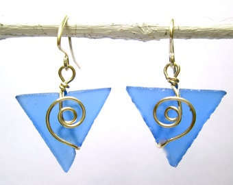 periwinkle seaglass baby triangle earrings with spirals