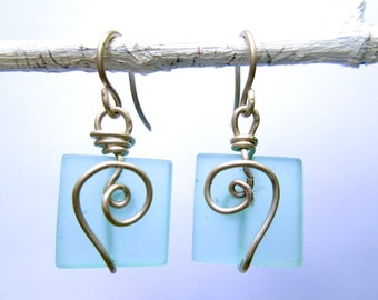 azure seaglass square earrings with silver spiral
