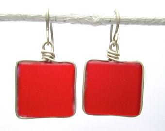 red seaglass-like square earrings with silver