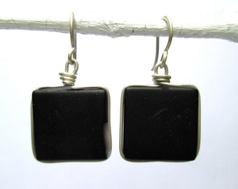 black seaglass-like square earrings with silver