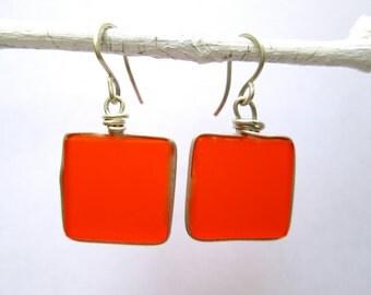 orange square seaglass-like silver earrings