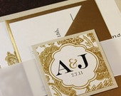 Champagne Gold Bellevue Wedding Invitation Suite - Ribbon Belly Band - Sample Kit