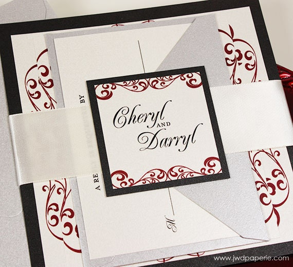 Items Similar To Elegant Wedding Invitations Red And Silver Suite With Ribbon Belly Band