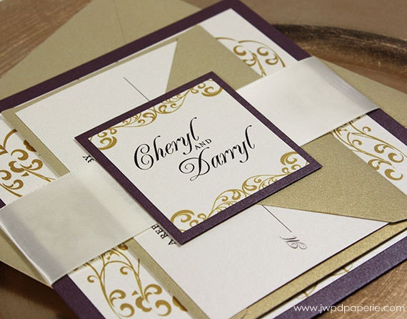 Wedding Invitations With Purple Ribbon: Wedding Invitation Gold Purple Wedding Invitation By